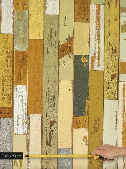 resimdo CO-WO-DW406 Scrap Wood Wandfolie Grün für Wände, Trennwände, Kinderzimmerwände Platte groß