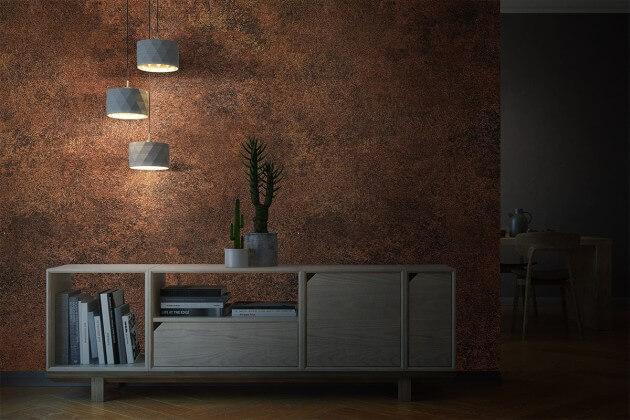 resimdo CO-AB-NS410 Red Iron Oxide Dekofolie Rostoptik Braun Rot Stein für Wohnideen Wohnzimmer Beispiel Beleuchtung