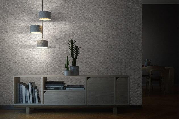 resimdo CO-AB-APZ14 Silver Metal Weave Wandfolie Grau für Trennwände, Wände, Beleuchtung