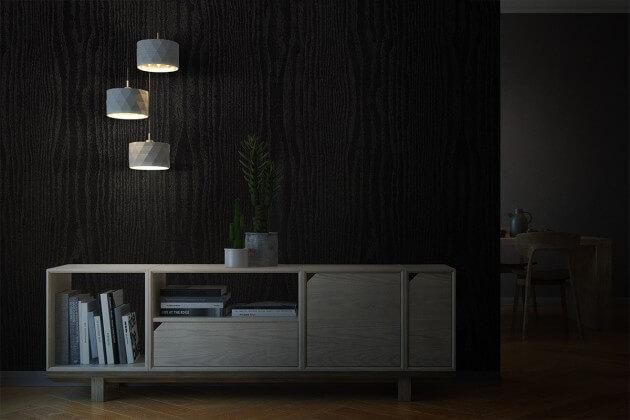 resimdo CO-BA-LS106 Classic Black Wood Wandfolie Schwarz für Trennwände in Büroräumen Beleuchtung