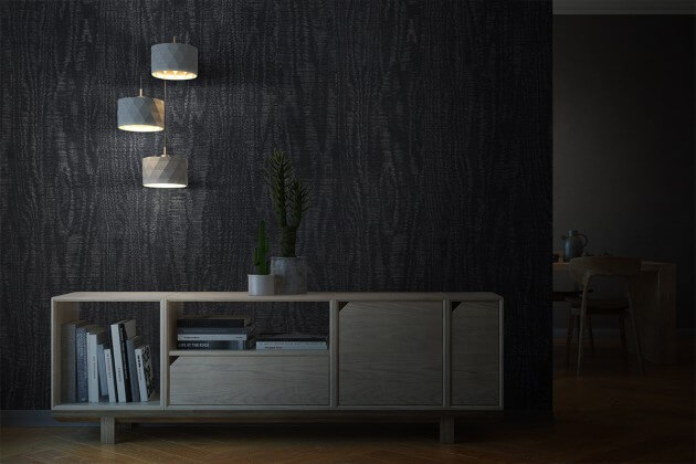resimdo CO-WO-DWP33 Dark Pearl Wood Wandfolie blau, schwarz für Wände, Raumtrenner und Trennwände, Beleuchtung